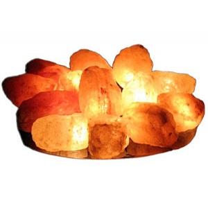 "Солевая лампа ""Огненная чаша"" с 15 камнями на блюде SLL-12055-15"