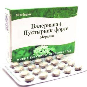 "Валериана-Пустырник Форте таблетки №60 ""Мерцана""."